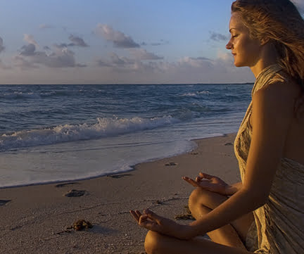 Evolving Love - 7 Weeks of Practices Lady On A Beach Meditating